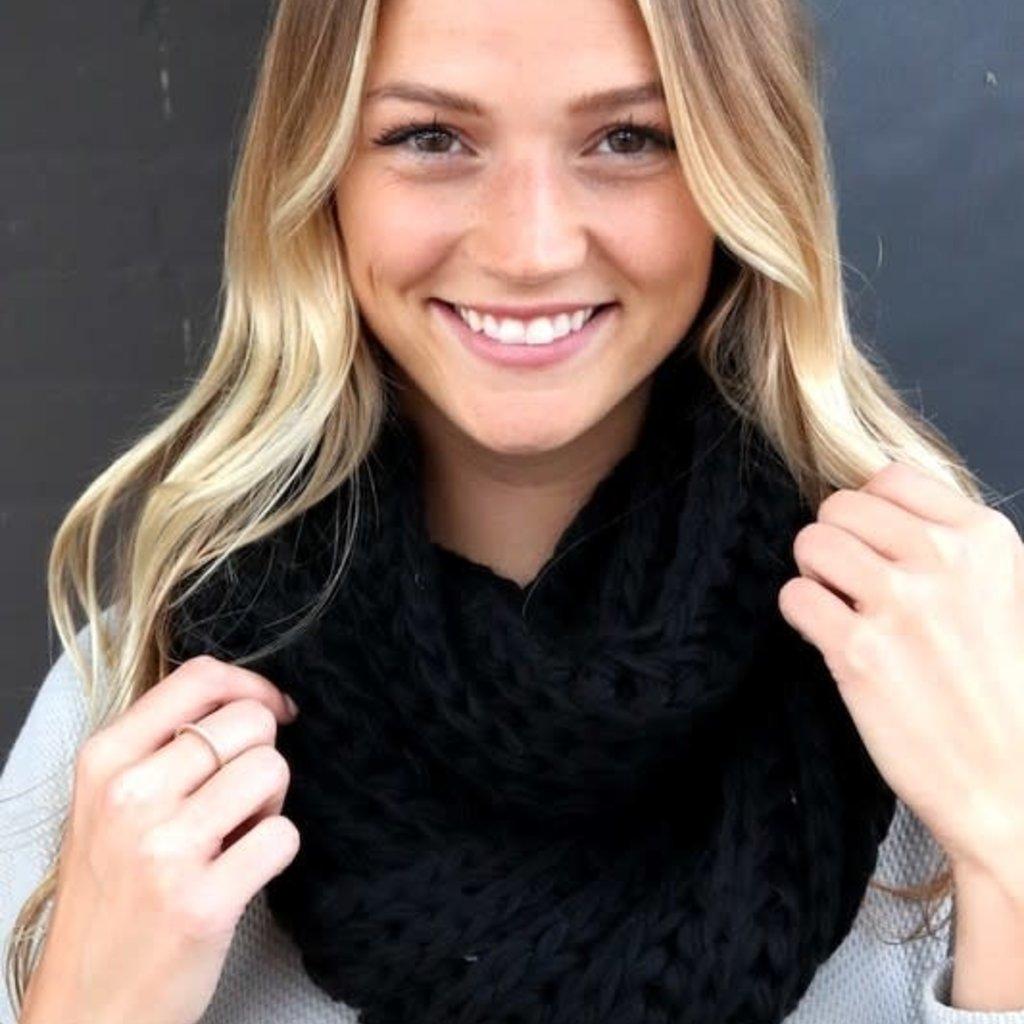 Panache Black Knit Infinity Scarf