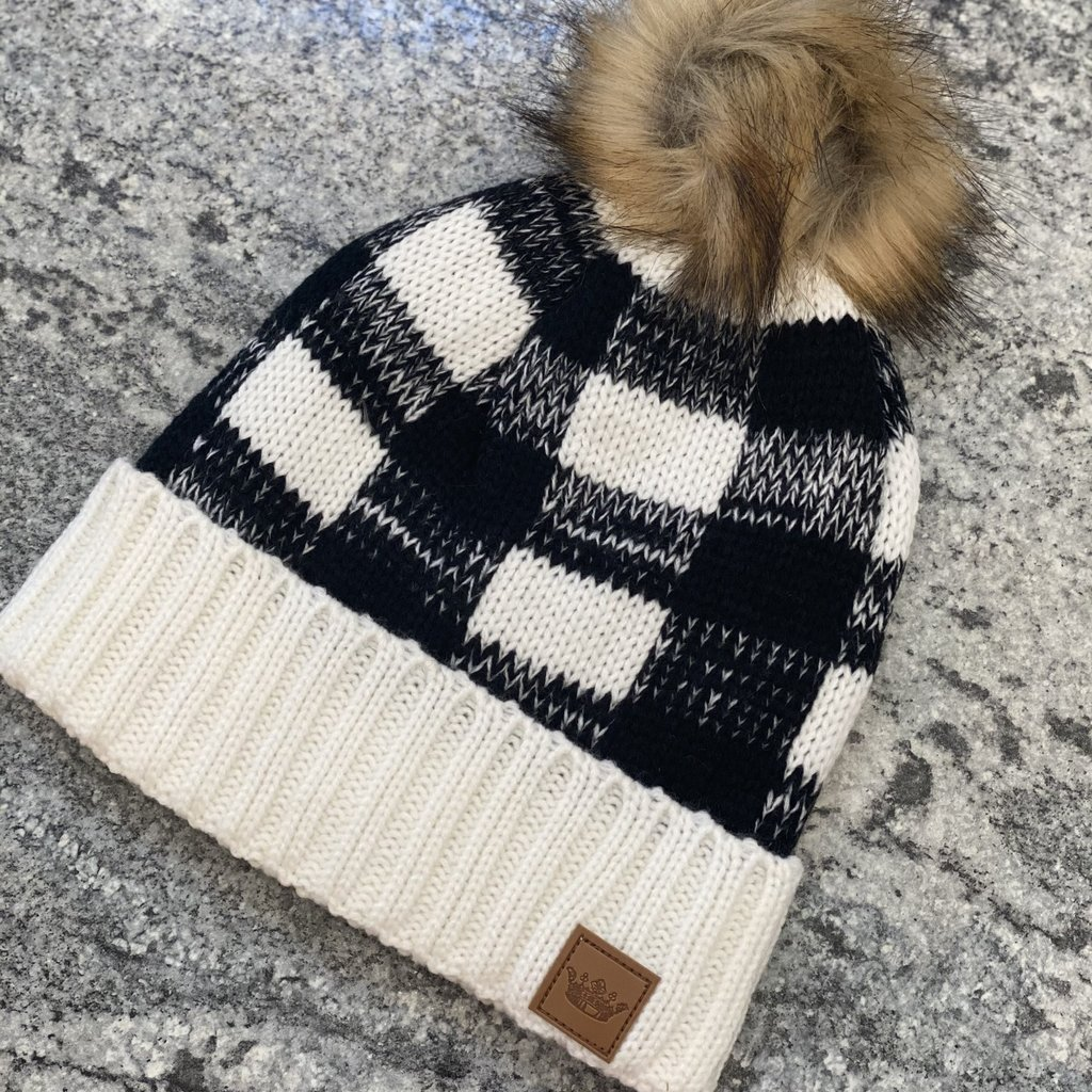 Panache White Black Buffalo Check Fleece Lined Pom Beanie