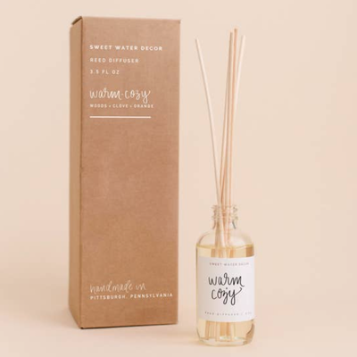 Sweet Water Decor Warm & Cozy Reed Diffuser (Woods & Clove Orange Scent)
