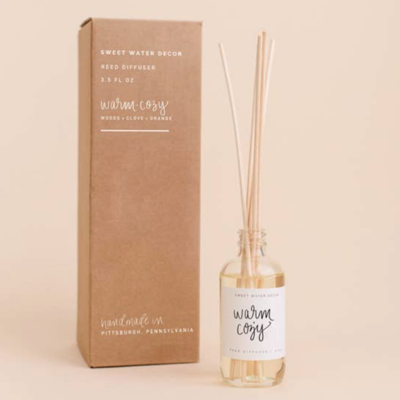 Sweet Water Decor Warm & Cozy Reed Diffuser (Woods & Clove Orange Scent)