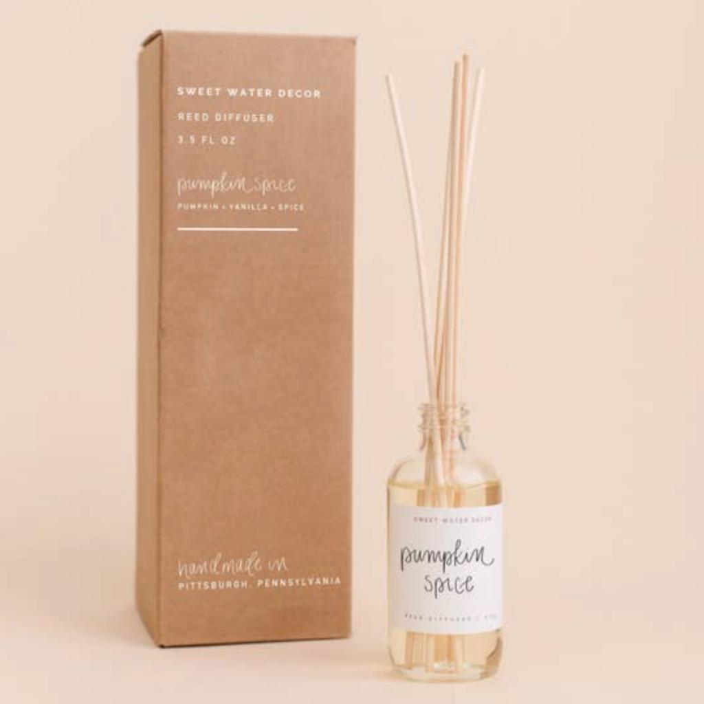 Sweet Water Decor Pumpkin Spice Reed Diffuser (Pumpkin & Vanilla Spice Scent)