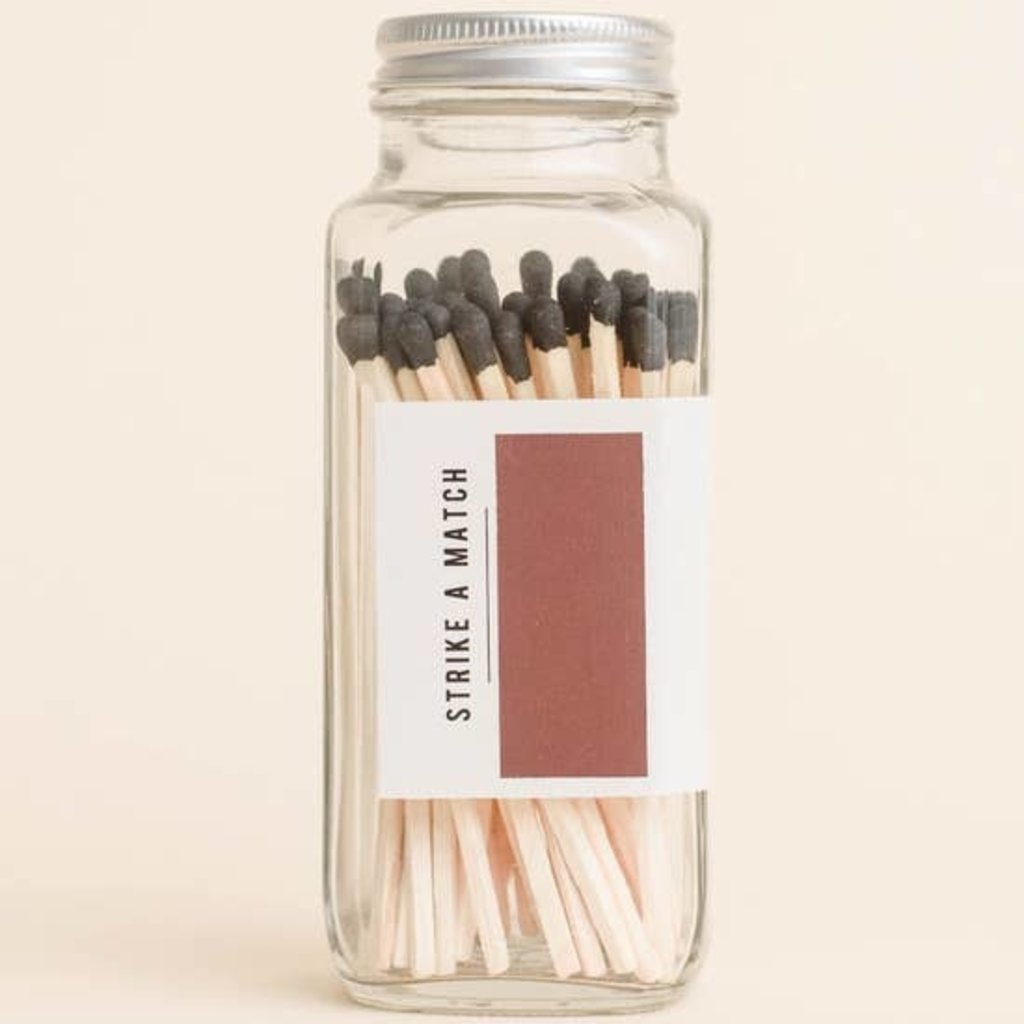 Sweet Water Decor Black Safety Matches Glass Jar