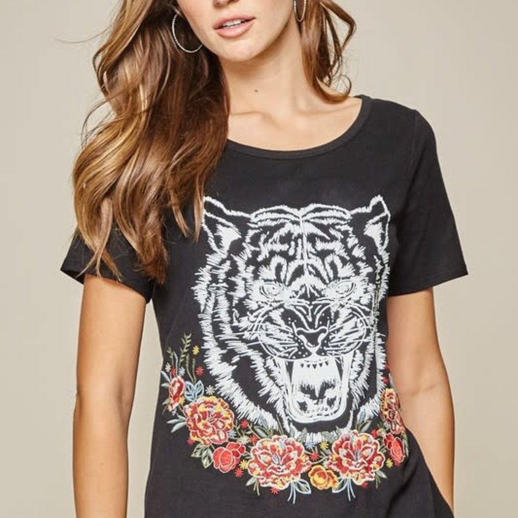 Andree by Unit Black Embroidered Tiger Tee