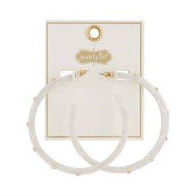 MUDPIE MudPie Studded Resin White Hoop Earrings