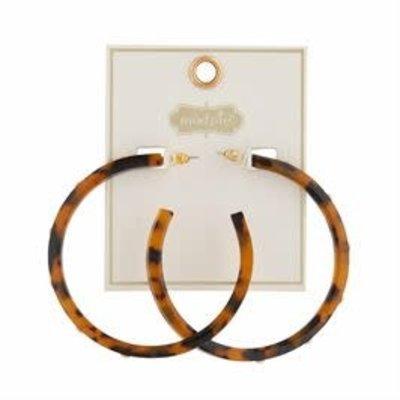 MUDPIE MudPie Studded Resin Brown Hoop Earrings