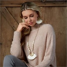 MUDPIE MudPie Cream Tassel Earrings (Cream, Blackor Blush)