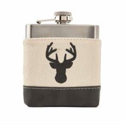 MUDPIE MudPie Deer Leather Canvas Flask