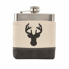 MUDPIE MudPie Deer Leather Canvas Flask