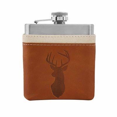 MUDPIE MudPie Tan Leather Flask