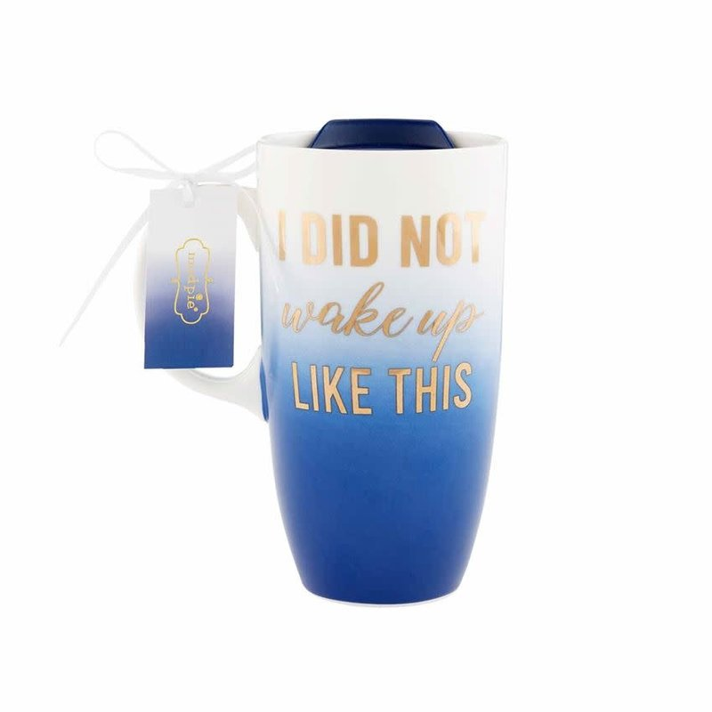 """MUDPIE Mud Pie Ombre """"I Did Not Wake Up Like This"""" Glass Travel Mug"""