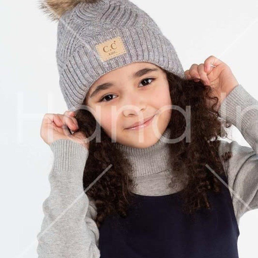 CC Kids CC Pom Beanie (Black, Grey, Pink)