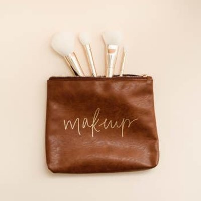 Sweet Water Decor Tan Faux Leather Makeup Bag