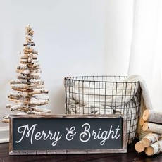 Sweet Water Decor 8x24 Grey Wood Merry & Bright Sign