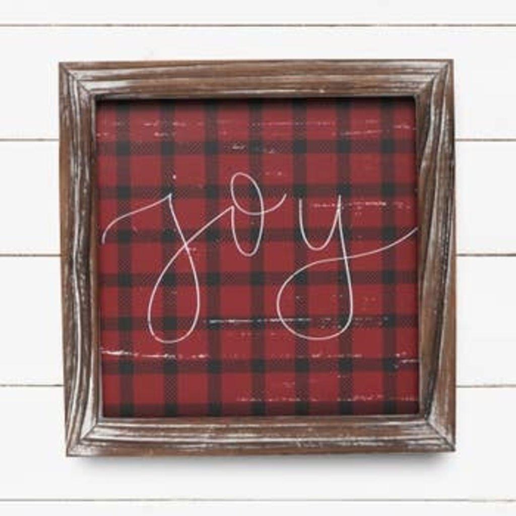 Sweet Water Decor 8x8 Joy Plaid Wood Sign