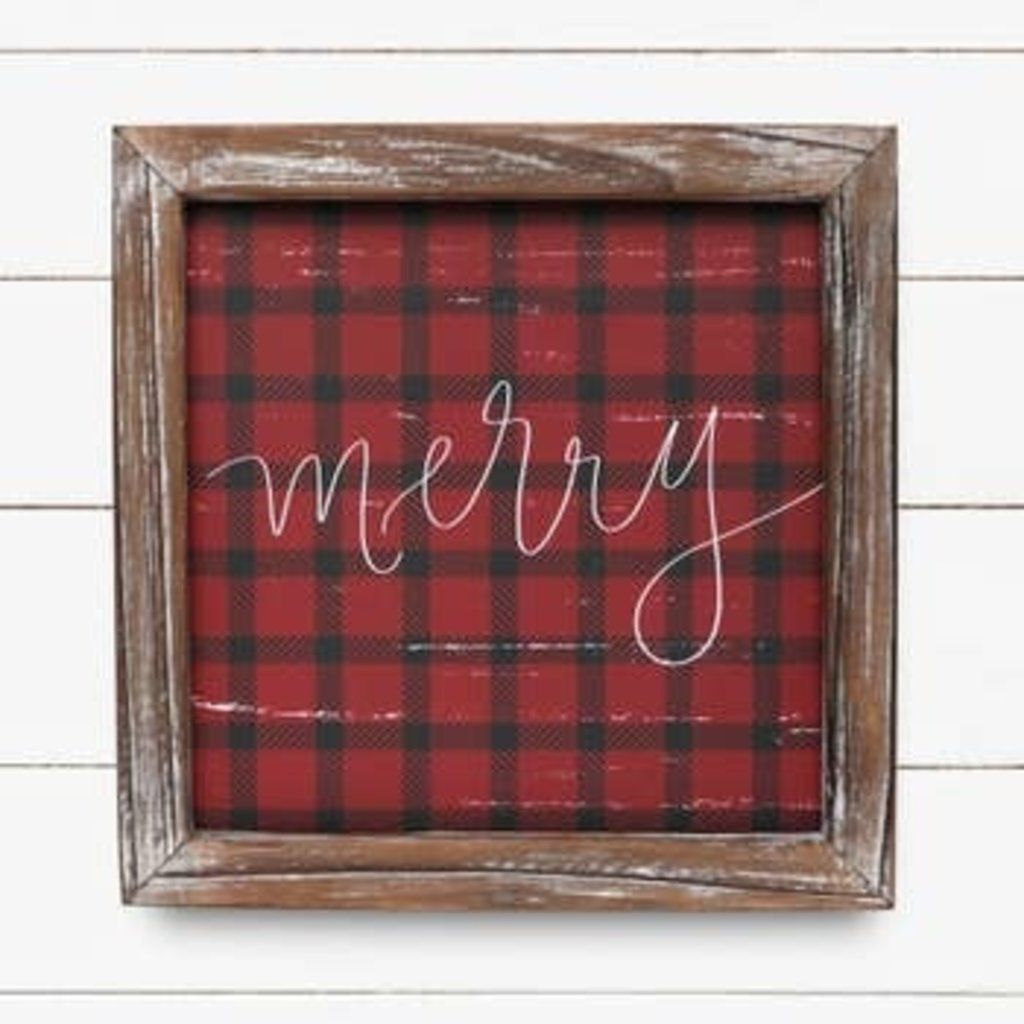 Sweet Water Decor 8x8 Merry Plaid Wood Sign