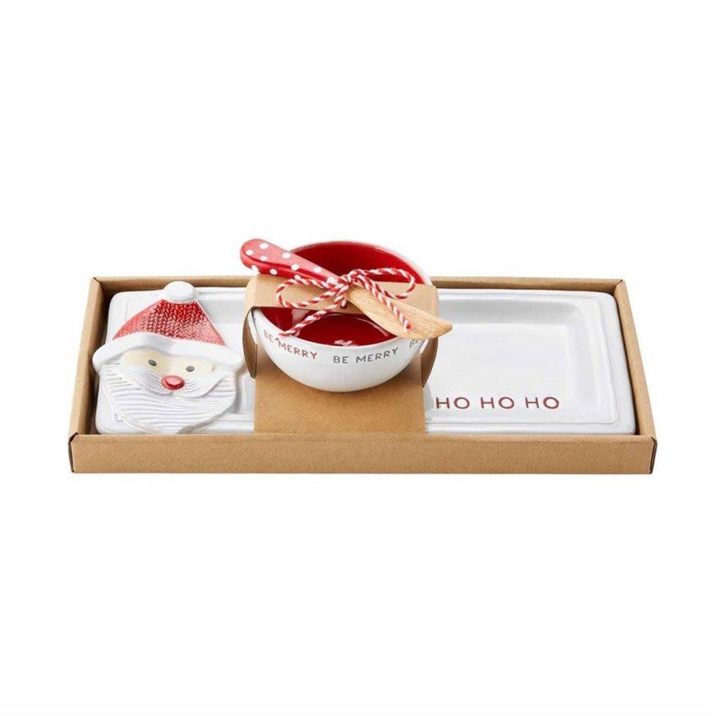 MUDPIE Mud Pie Ho Ho Ho Santa Tray & Dip Cup Set