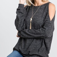 Heimish USA Charcoal Cold Shoulder Sweater (S-3XL)