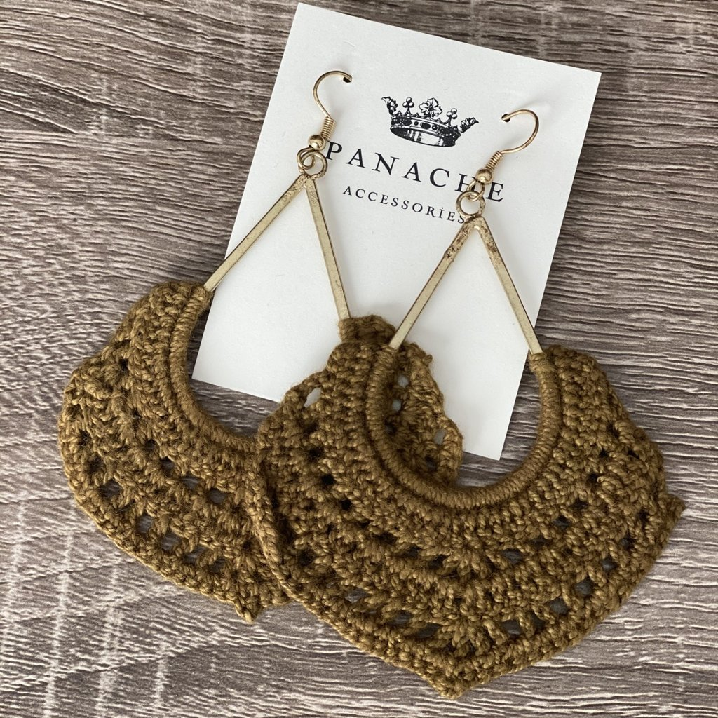 Panache Olive Crochet Dangle Earrings