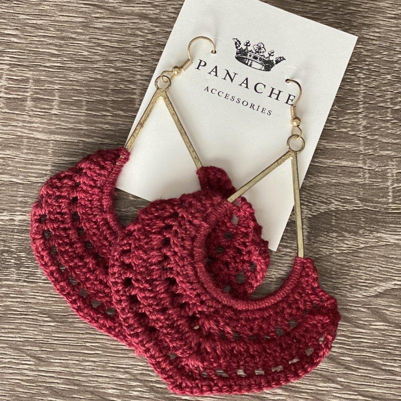 Panache Burgundy Crochet Dangle Earrings