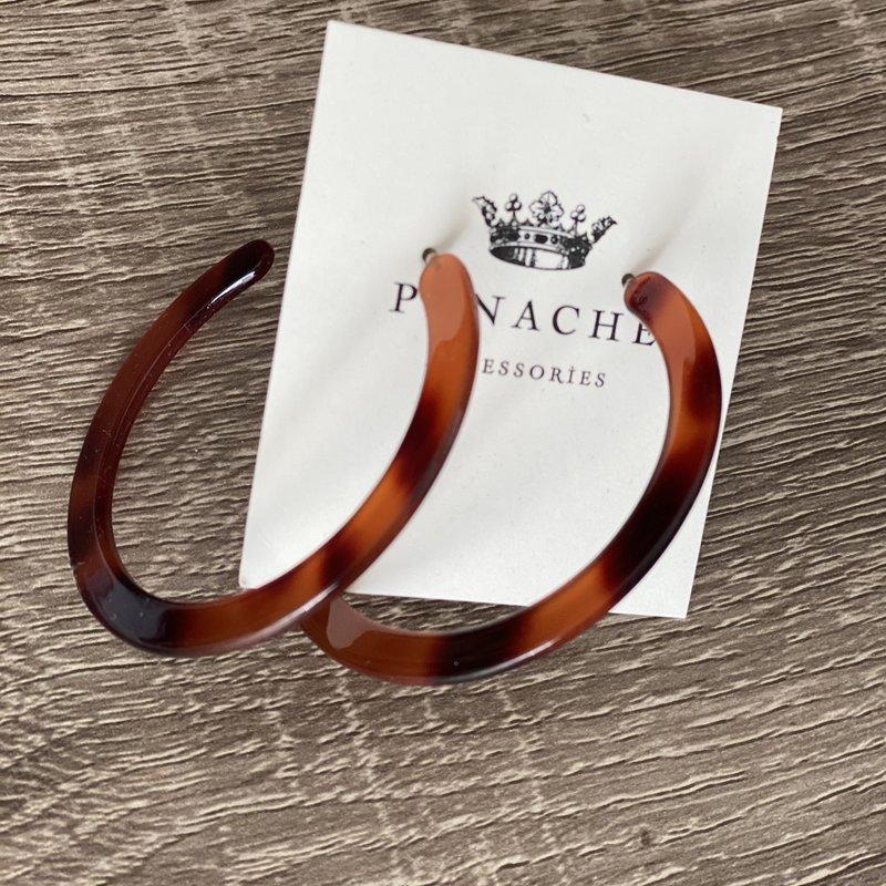 Panache Brown Acrylic Hoop Earrings
