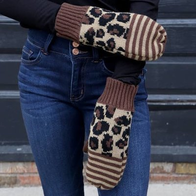 Panache Brown Leopard Fleece Lined Mittens