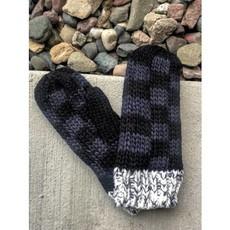 Panache Black Gray Check Fleece Lined Mittens