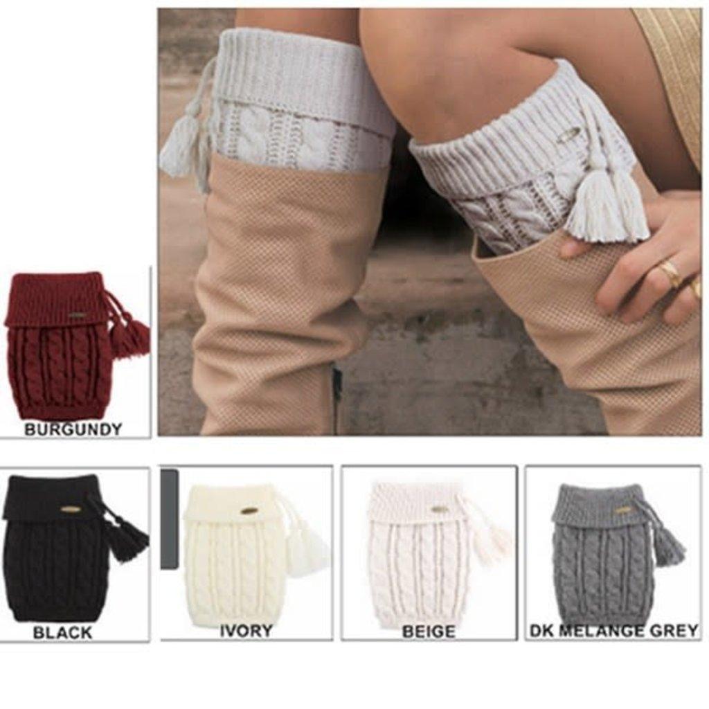 Suzie Q USA CC Knitted Boot Cuffs w/ Tassel