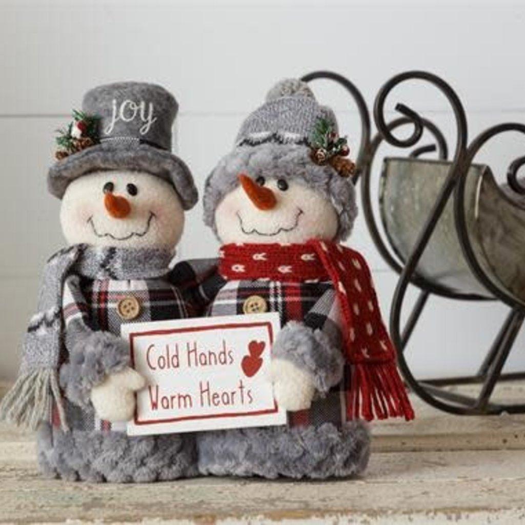 "Audrey's Cozy in Plaid Snowmen ""Cold Hands, Warm Hearts"""