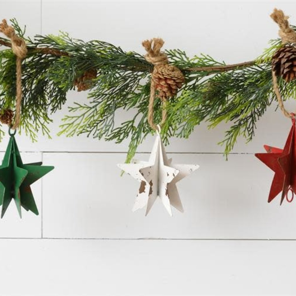 Audrey's Metal Star Ornaments (Green, White, Red)