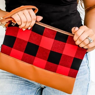 Small Town Society Red Buffalo Wristlet