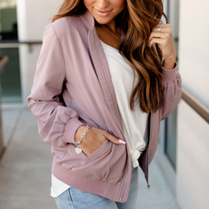 AMPERSAND AVE Essential Mauve Bomber Jacket - Ampersand Ave (XS-3XL)