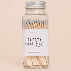 Sweet Water Decor Grey Safety Matches - Glass Jar