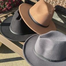 Suzie Q USA Retro Flat Big Brim Hat (Black, Grey, Khaki)