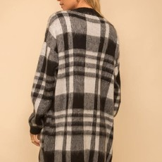 Hem & Thread Black Buffalo Fuzzy Cardigan