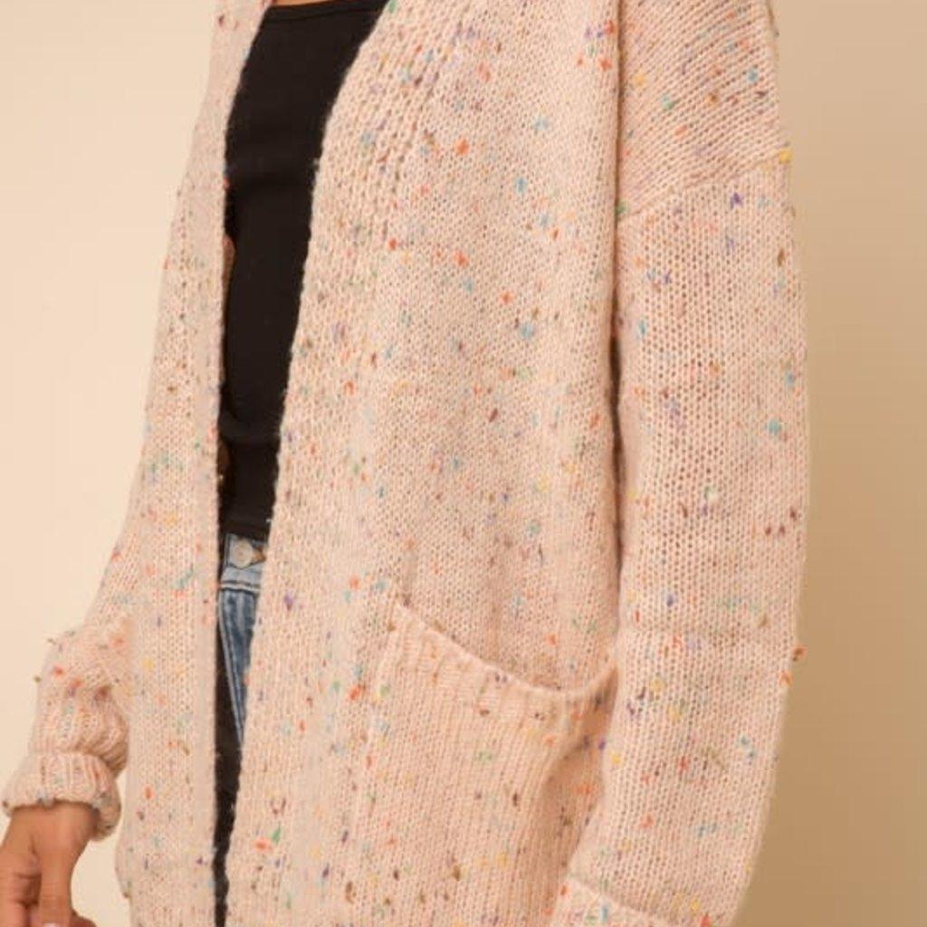 Hem & Thread Dusty Pink Confetti Cardigan