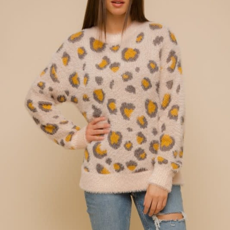Hem & Thread Soft Yellow Leopard Sweater