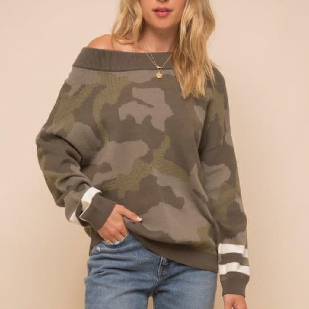 Hem & Thread Camo Loose Fit Dolman Sweater