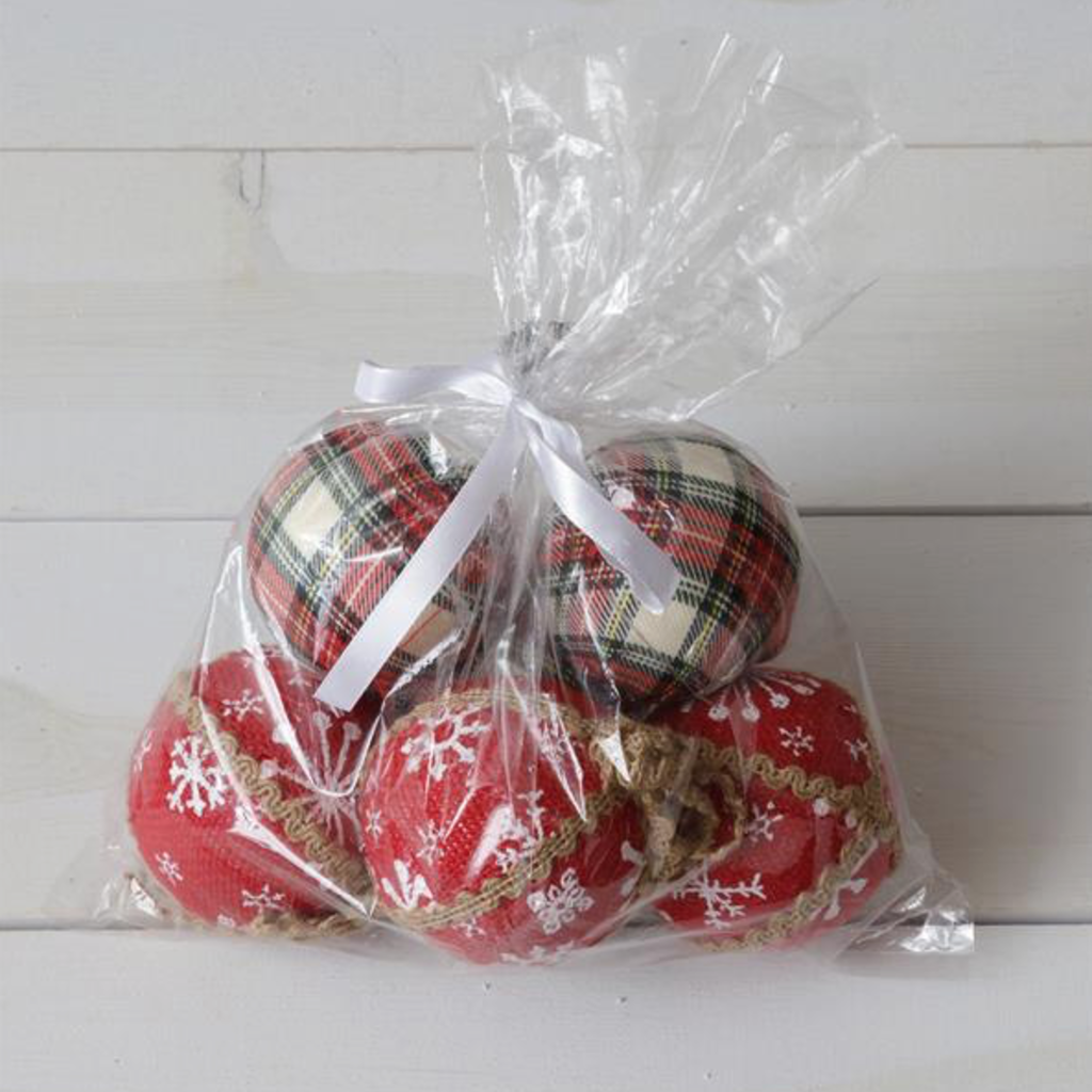 Audrey's 6 Assorted Fabric Ball Ornaments