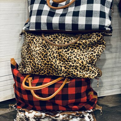 Glittering South Animal Print Weekender Totes (Leopard, Cow, Deer)