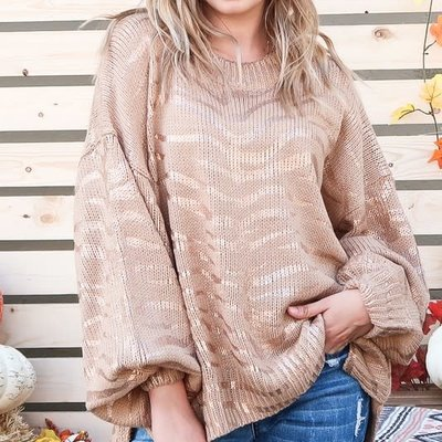 And the Why Taupe Foiled Zebra Sweater (M/L Only)