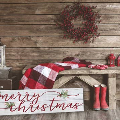 """Kindred Hearts 40""""x10"""" Merry Christmas Slatted Sign"""