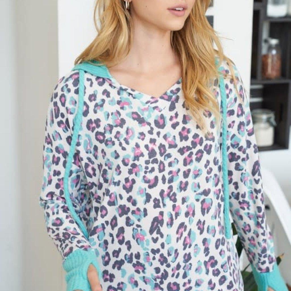 White Birch Mint Leopard Hooded Sweater (S-3XL)