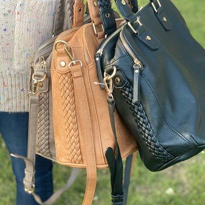 Bag Boutique Braided Handbag (Black, Taupe, Camel)