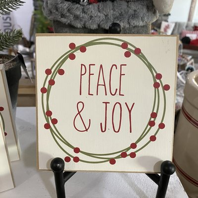 Crafts with a Side of You Peace & Joy Wreath Wood Block Sign