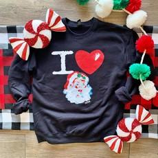 PPTX I Love Santa Crew Sweatshirt (M, L, 3XL, Only)