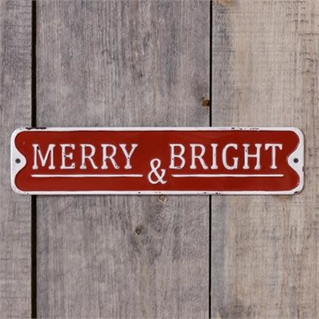 "Audrey's 20"" Metal Red Merry & Bright Sign"