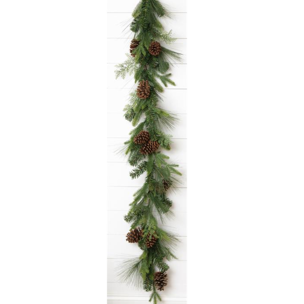 "Audrey's 70"" Natural Pine Cone  Greens Garland"
