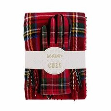 MUDPIE Mud Pie Tartan Scarf & Glove Holiday Gift Set - Red