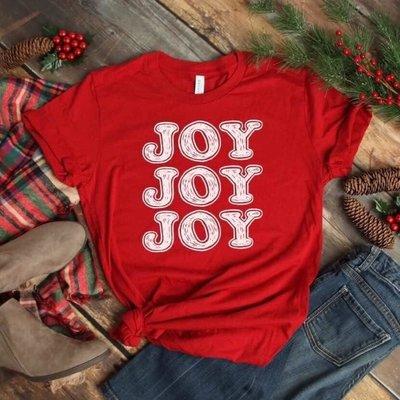D&E Tees Red Joy Joy Joy Tee (Small Only)