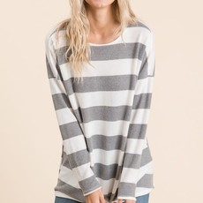 Reborn J Fleece Heather Grey Striped Tunic (XL Only)